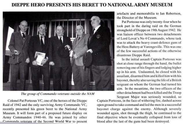 Col. Tony Lewis DSO MBE, Maj. Jimmy Dunning, Maj.Pat Porteous VC, Henry Brown OBE, and Stan Scott