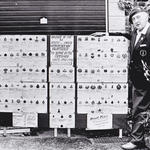 Ken Phillott and his collection of Commando 'parent' unit badges