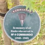 Plaques on the trees flanking the Army Commando Memorial