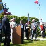 Keith Taylor, son of Eric Taylor 46RM Cdo.,thanking local dignitaries