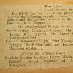 Entry from London Gazettes re bar to the Military Cross for Capt. Webb