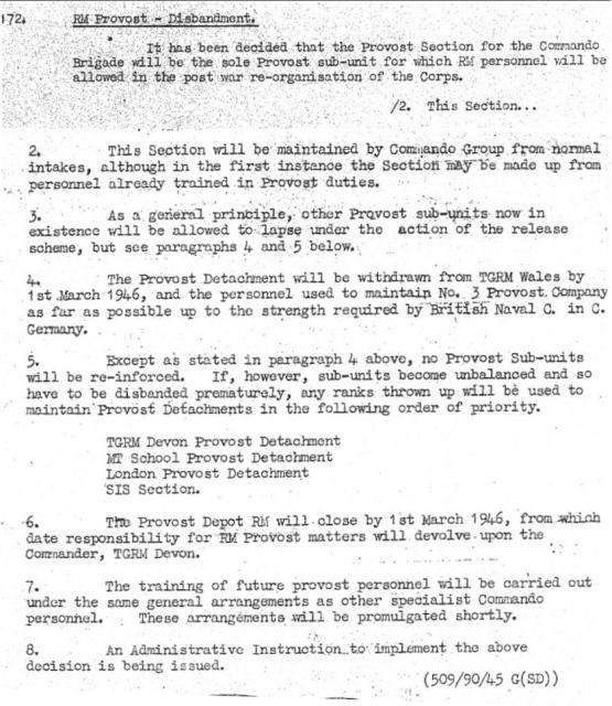 1946 changes to Commando Brigade Provost