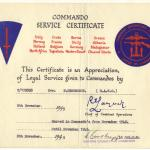 Commando Service Certificate for Dvr Norman Henderson No.4 Cdo
