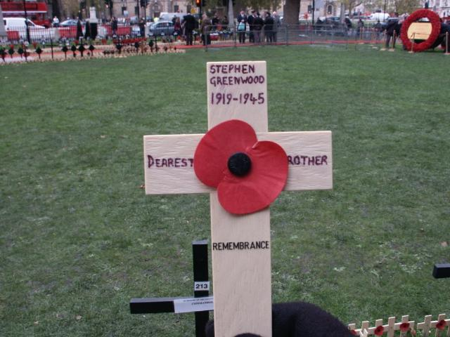 Remembrance cross for Tpr. Stephen Greenwood