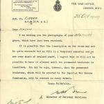 Letter from the War Office re the grave of Tpr Stephen Greenwood
