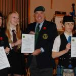 Glen Falconer, Sarah Johnson, and Ruairidh Shaw with CVA National Secretary Joe Murtagh