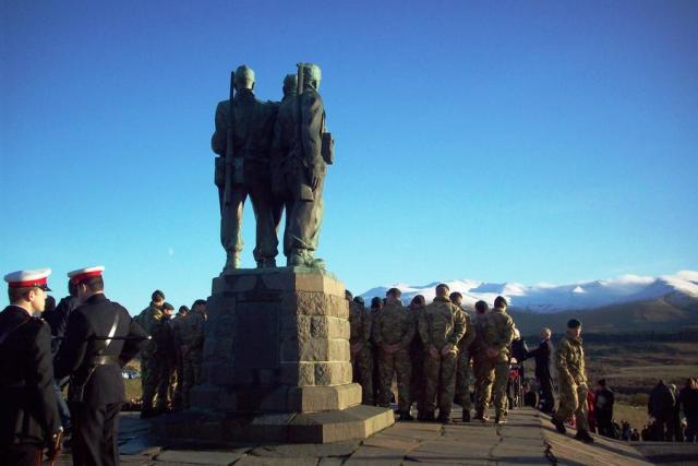 Army Commando Sappers, RM Commandos, and others at the Monument