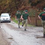 Army Commandos complete the speed march from Spean Bridge Station to Achnacarry Castle