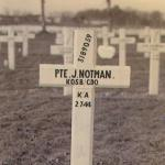 Grave of Private John Notman No 4 Commando kia 2nd July 1944 France.