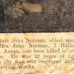Newspaper report on the death of Pte.John Notman