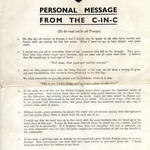 Personal message from the C in C on VE Day