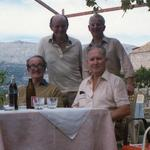 Bob Loudoun CB, OBE,  Norris Peak, Mike McConville, and Tom Baker on a trip back to Vis