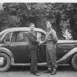 Pte John.Gallacher, unknown,  & the CO's car. Salonika 1944.