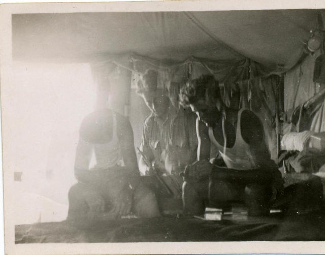 Three from No 11 Cdo in a tent