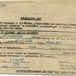 Embarkation card for Pte Fowler