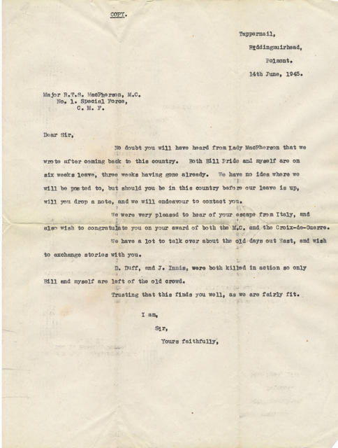 Letter from Robert Fowler to Major Tommy MacPherson MC