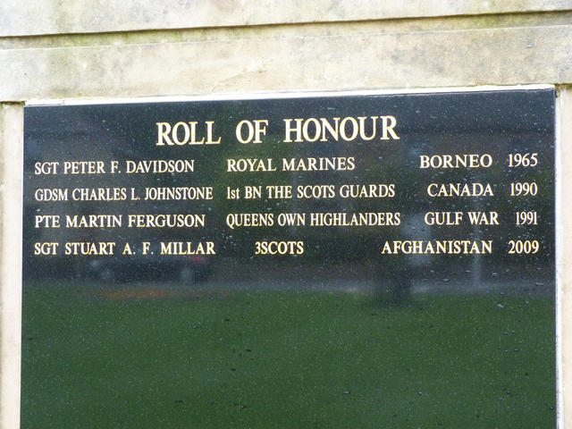 Sgt Davidson's name added to the post 1945 names on the Inverness memorial