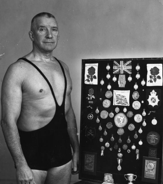 Stan Bissell with his medal collection