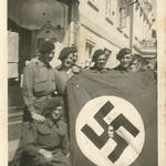 Outside billet, Neustadt 1945. (McCrae, Duce, Jackson Duffy)