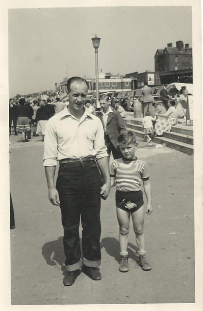 Jimmy Norton and son, Barry, Hunstanton seafront 1952