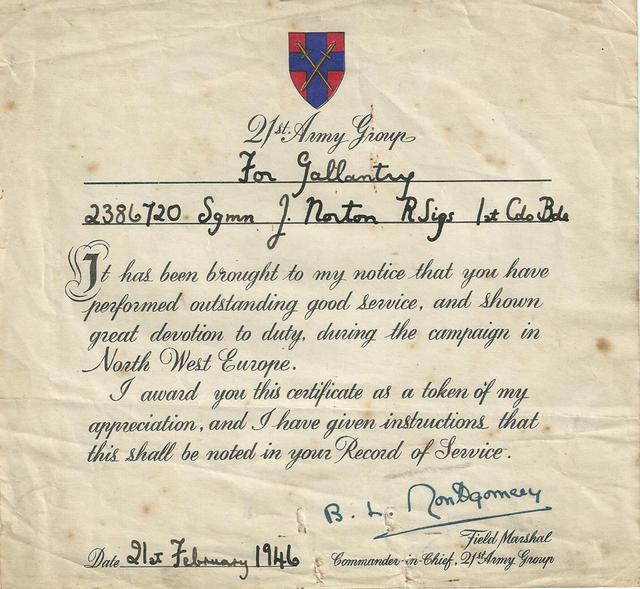 21st Army Group certificate
