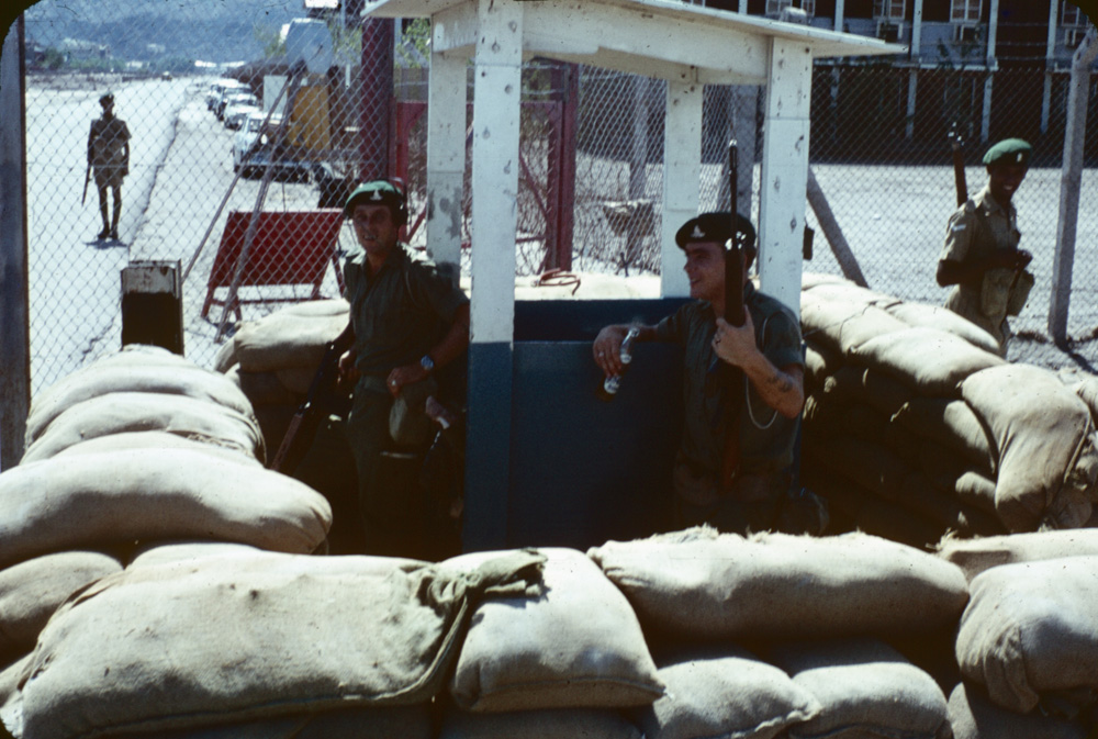 Gunner Dave Millward and Sgt. Adams on stag last day in Aden