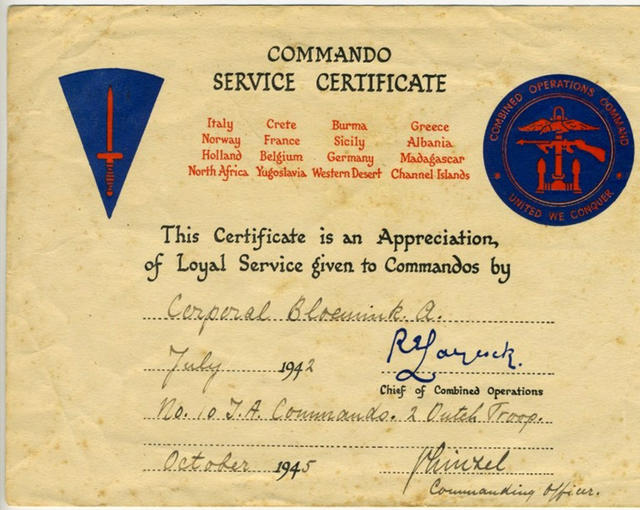 Commando Service Certificate for Albert Bloemink
