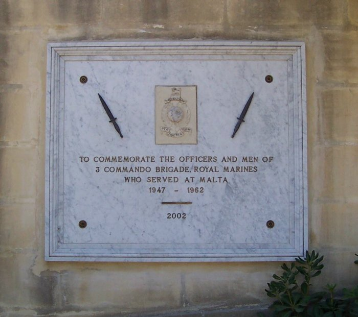 Plaque in honour of 3 Commando Brigade Ta'Braxia Cemetery Malta