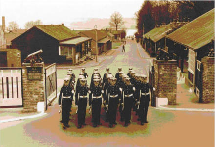 Main gate at the Infantry Training Centre, Royal Marines, circa 1950s