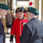 In-Pensioner, Roy Cadman, No.3 Cdo chats with Eric Buckmaster & George Parsons, both No 2 Cdo..