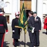 Maj Gen D McDowall meets David Davies, Standard Bearer...