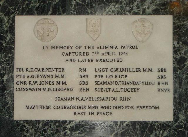Alimnia Patrol Memorial at St Pauls Church, Athens.