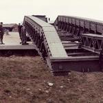 Building a 12-bay double storey medium girder bridge at Weymouth, July 1989