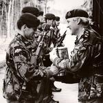SSgt Simon Miller of 300 Tp 131 Indep Cdo Sqn RE (V) receives the Courage Trophy 1992