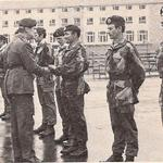 Maj Gen Sir Steuart Pringle RM presents Sgt Morgan 131 Indep Cdo Sqn RE(V) with his Green Beret, CTCRM 1978