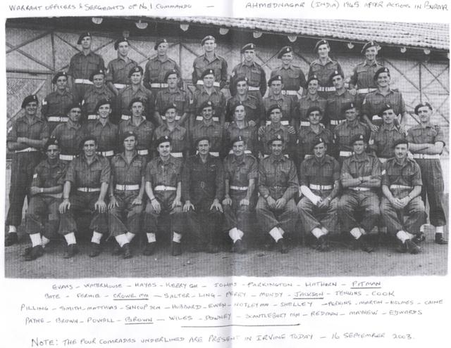 No 1 Cdo Warrant Officers and Sgts 1945