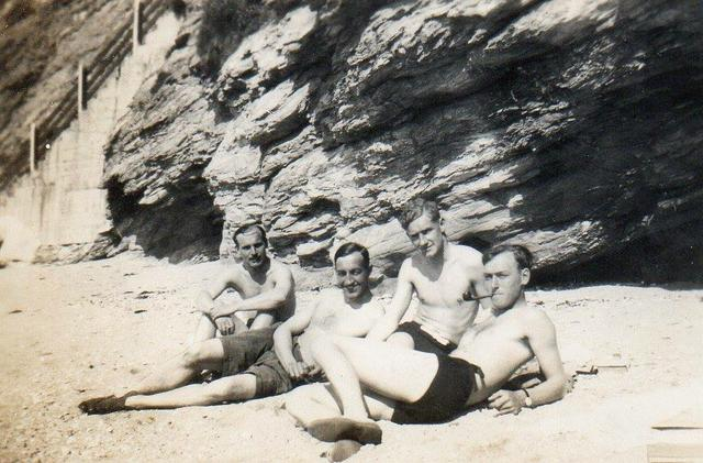 Gordon Webb, Len Coulson, David Style, and Alistair Thorburn, at Falmouth 1943