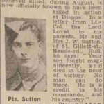 Newspaper report about Private G.H. Sutton