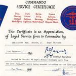 Commando Service Certificate for Mne Storer 46RM Cdo.
