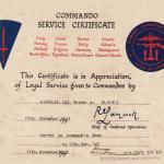 Commando Service Certificate.