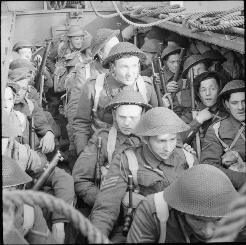 Commandos in an assault landing craft (LCA) during an exercise, April 1942