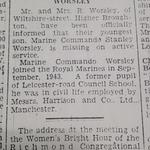Newspaper cutting about Stan Worsley 45RM Cdo missing in action