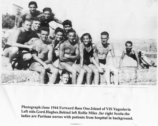 Gordon Hughes, RN Beach Sigs., & others  Forward Base 1 on Vis, Jun'44