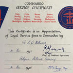Cdo. Service Certificate for Pte. Kenneth Arthur Millward