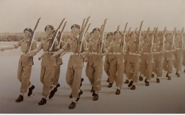 42 Commando, X Troop, coming off parade, 1947, Malta
