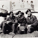 Ted Burry (right) 46RM Cdo.and unknown on LST 63