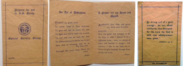 Special Service Prayer booklet of Rfn Maginnis No 12, 6 and 4 Cdos