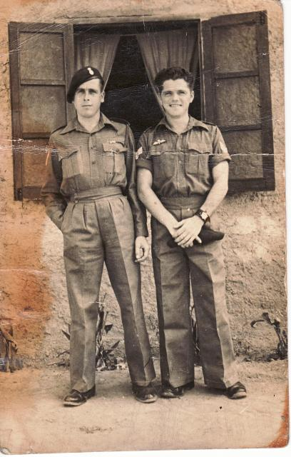 Hugh Maines (on the left) and a friend 1944.
