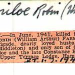 Obituary in the name of Robin (William Arthur) Farmiloe