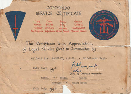 Commando Service Certificate for Pte. Baseley